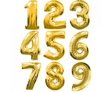Цифра золотая с гелием - (на выбор)