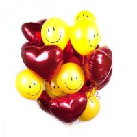 """Набор из шариков с гелием - """"Сердца со смайликами"""""""