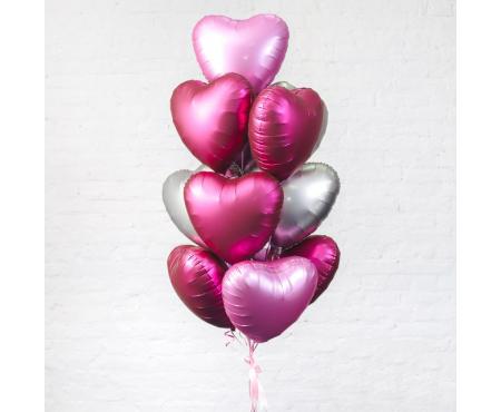 """Набор из шариков - """"Облако из сердец фольгированных"""""""