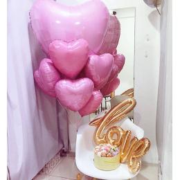 """Набор из шариков - """"Набор розовых сердец love"""""""