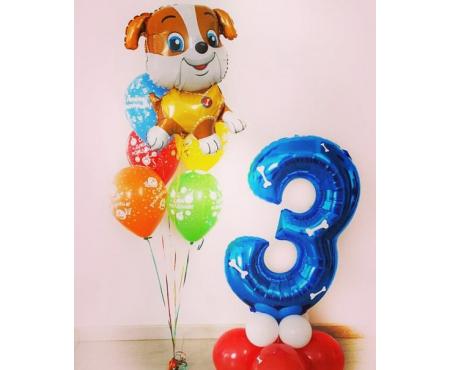 Набор из шариков с гелием с собакой и цифрой