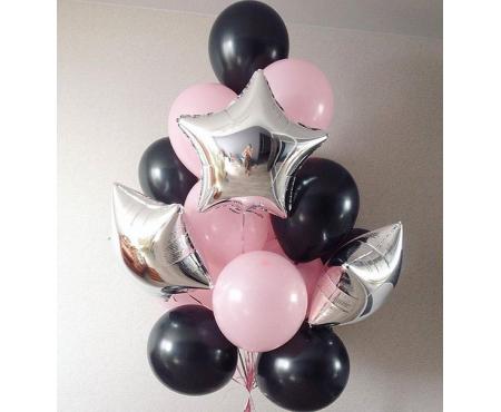 Набор из воздушных шаров Розово чёрных