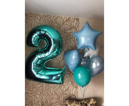 Набор из воздушных шаров  с бирюзовой цифрой