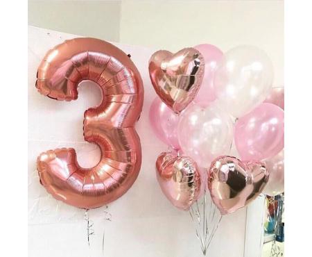 Набор из воздушных шаров розовое золото с цифрой