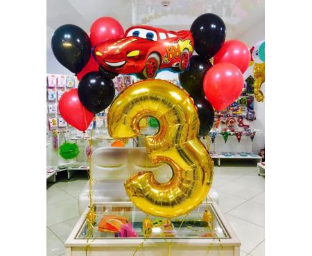Набор из воздушных шаров маквин с цифрой