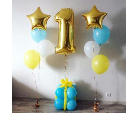 Набор из воздушных шаров с золотой цифрой