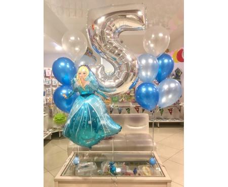 Набор из воздушных шаров фигура принцессы с цифрой