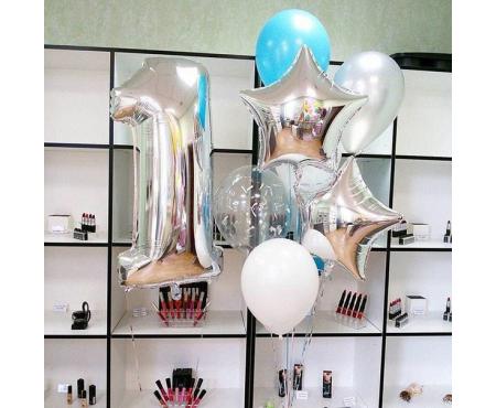 Набор из воздушных шаров с серебристой цифрой