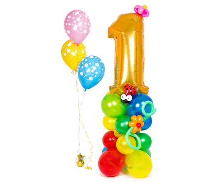 Набор из воздушных шаров стойка с цифрой